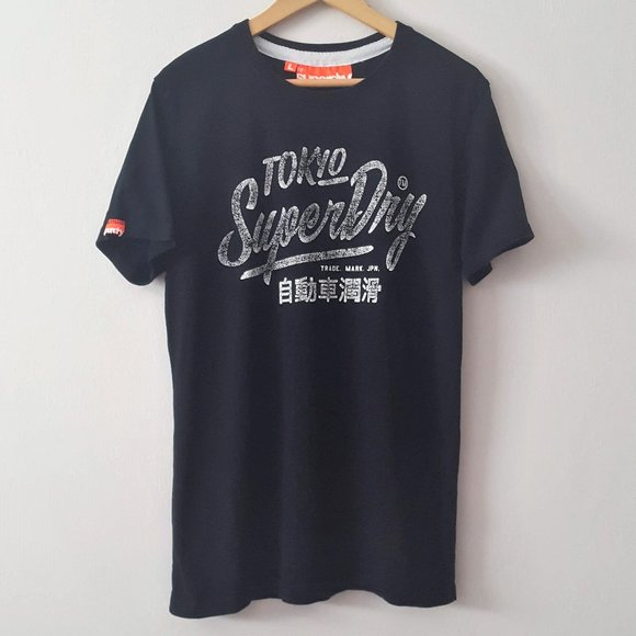 M 100/% Cotton T-Shirt XL L SUPERDRY Tin Tab Dark Blue SUPER EQUIPMENT Men XXL